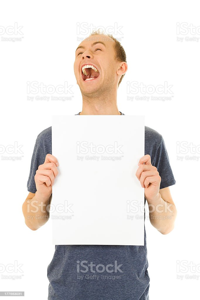 Holding White Billboard royalty-free stock photo