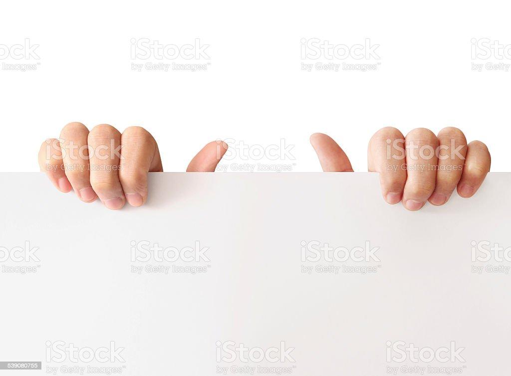 Holding white board stock photo