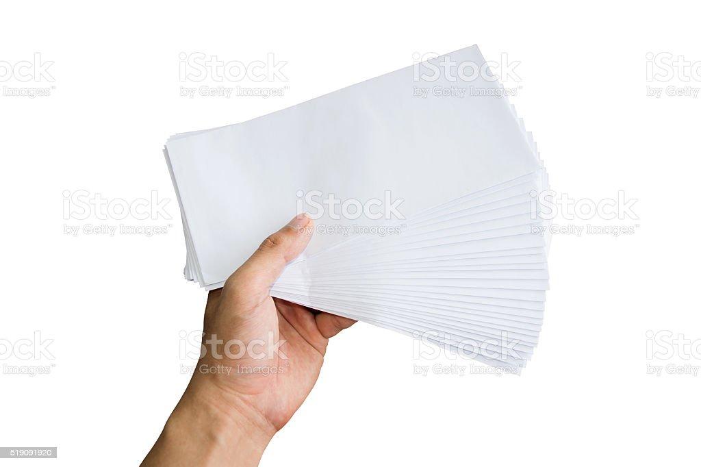 Holding white envelope letter office isolate on white background stock photo
