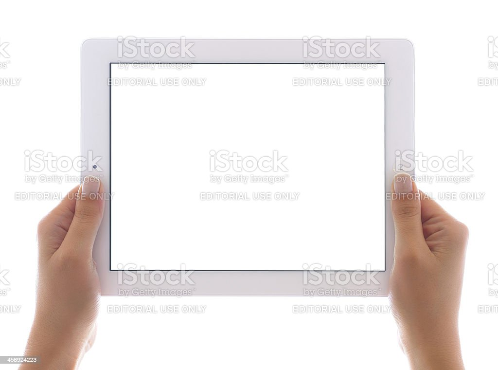 Holding white screen iPad 3 royalty-free stock photo