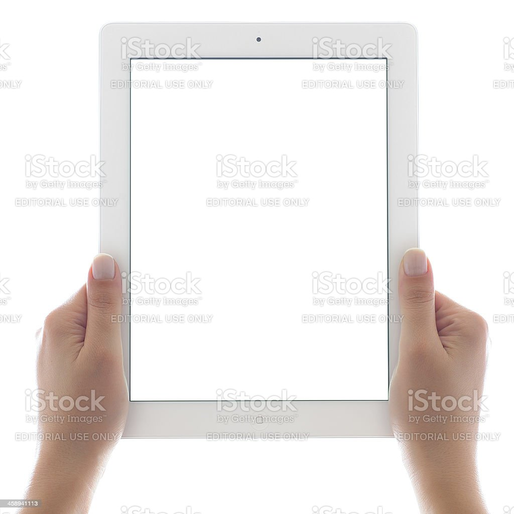Holding white screen iPad 3 royalty-free stock photo