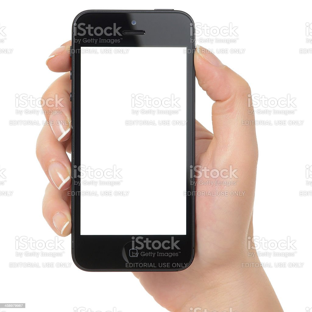 Holding white screen iPhone 5 black royalty-free stock photo