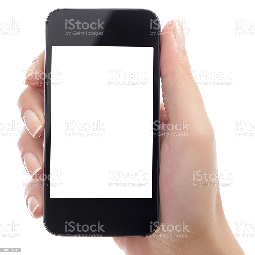 Holding white screen smart phone stock photo