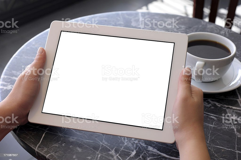 Holding white screen tablet computer royalty-free stock photo