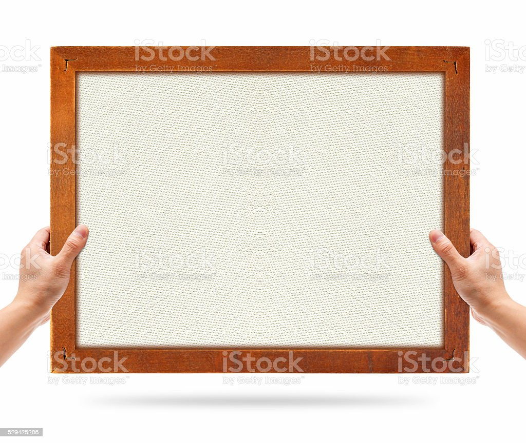 Holding wood picture textured frame isolated on white background stock photo