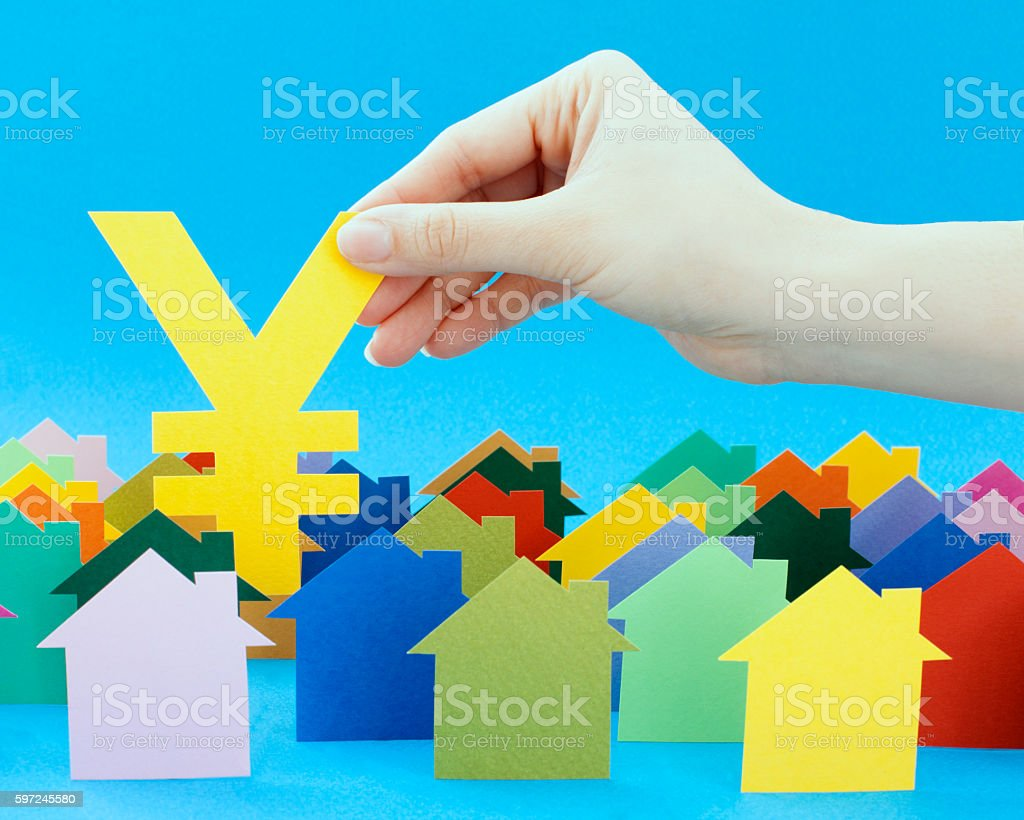 Holding yen stock photo