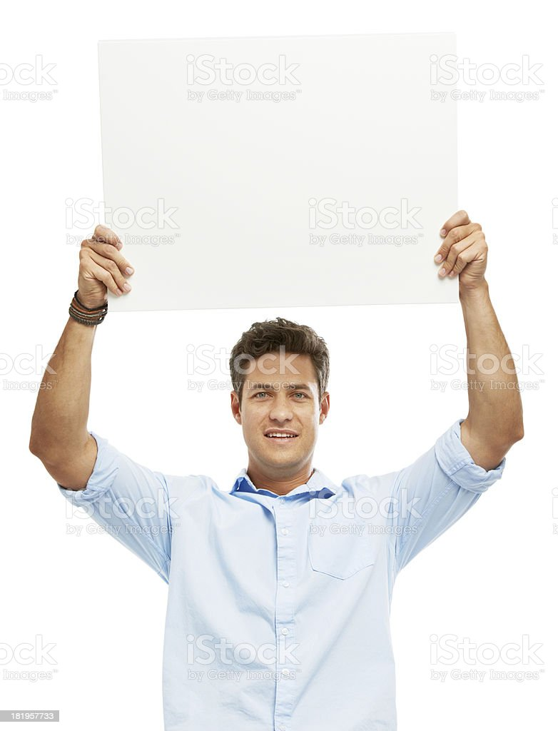 Holding your company high stock photo