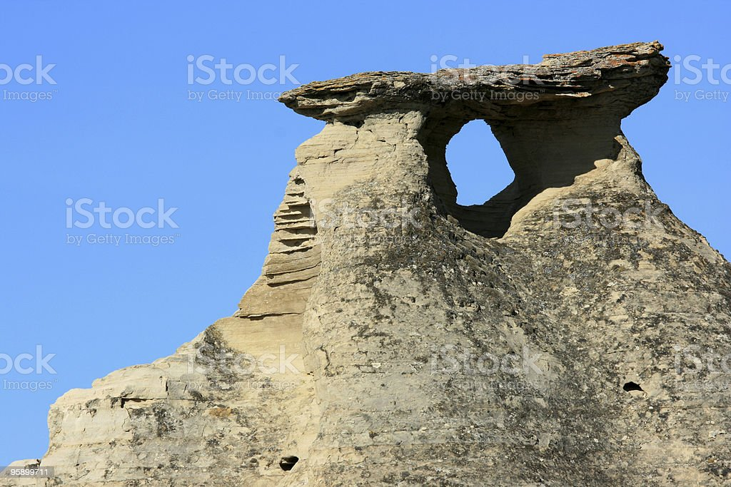 Hole and Shadow Under Rock Cap royalty-free stock photo