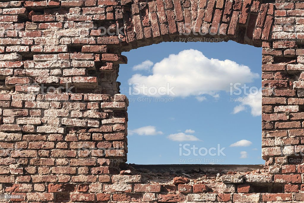 Hole in a wall royalty-free stock photo