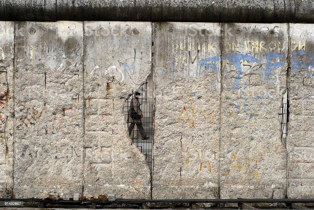 Hole in Berlin Wall stock photo