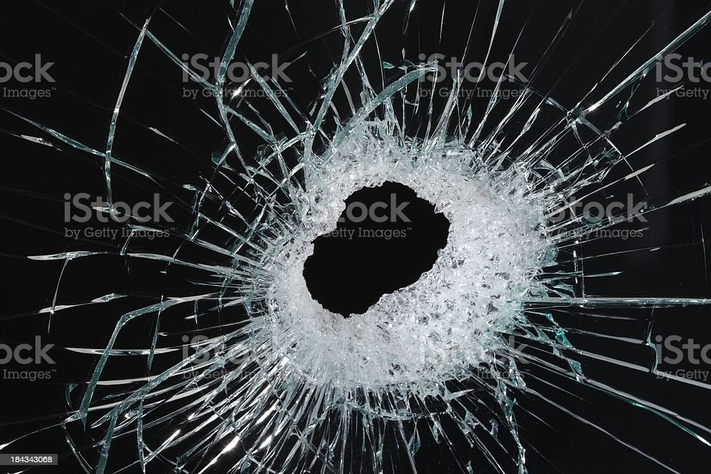 Hole in glass close up royalty-free stock photo