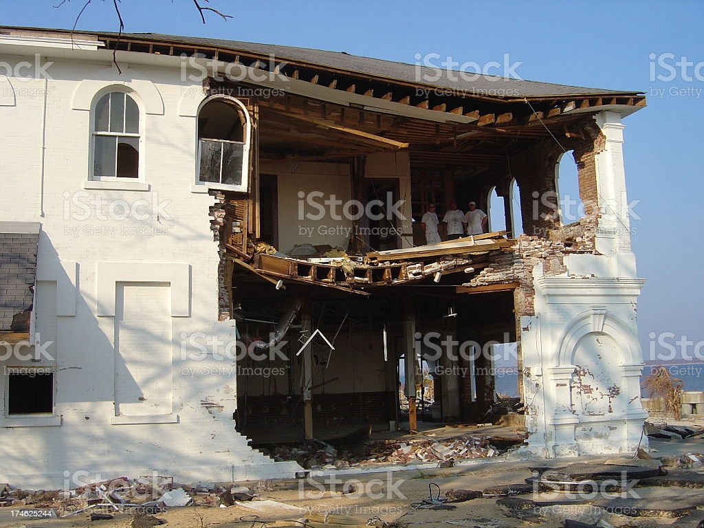 Hole in Mansion stock photo