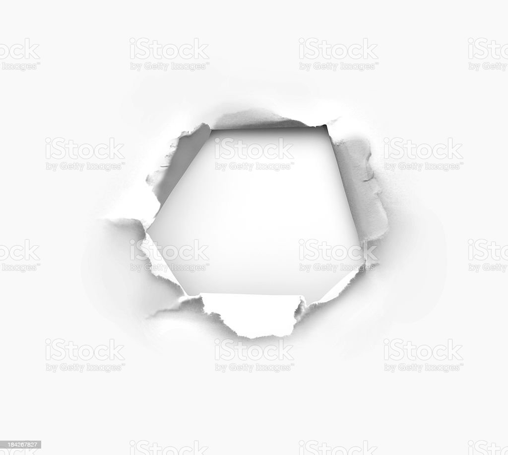 Hole in paper stock photo