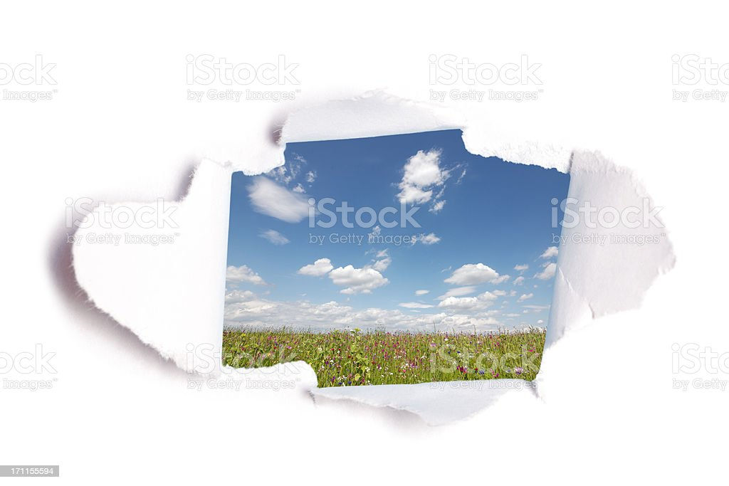 hole in paper with view to summer meadow stock photo