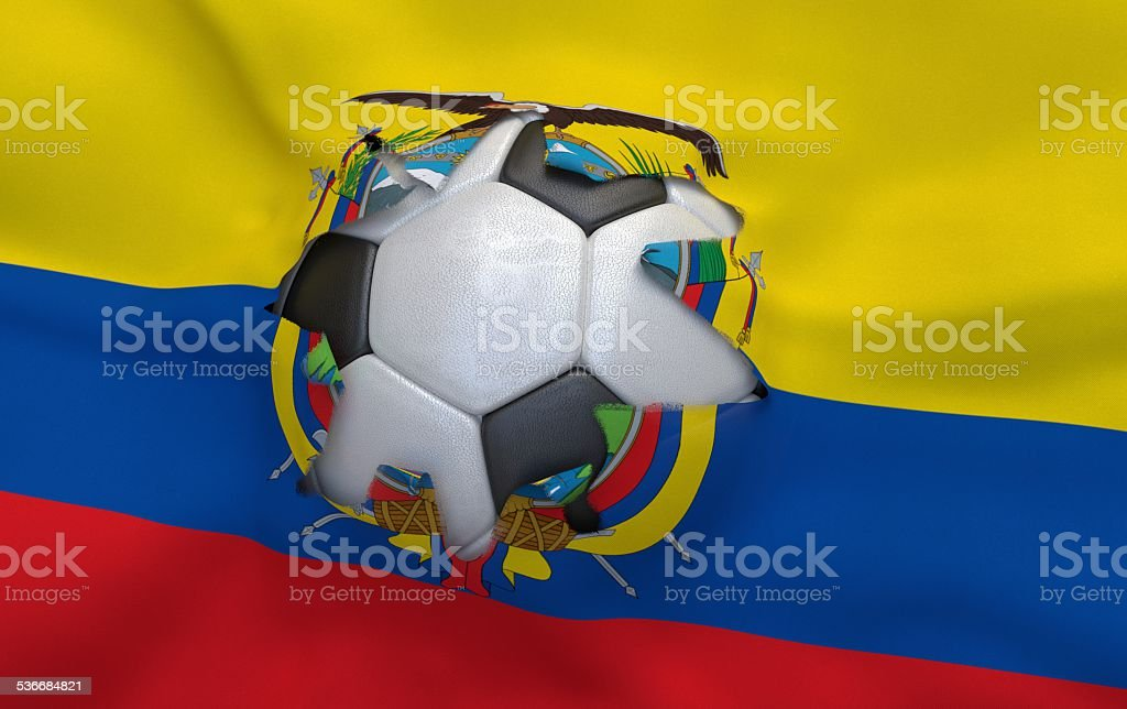 Hole in the flag of Ecuador and soccer ball stock photo
