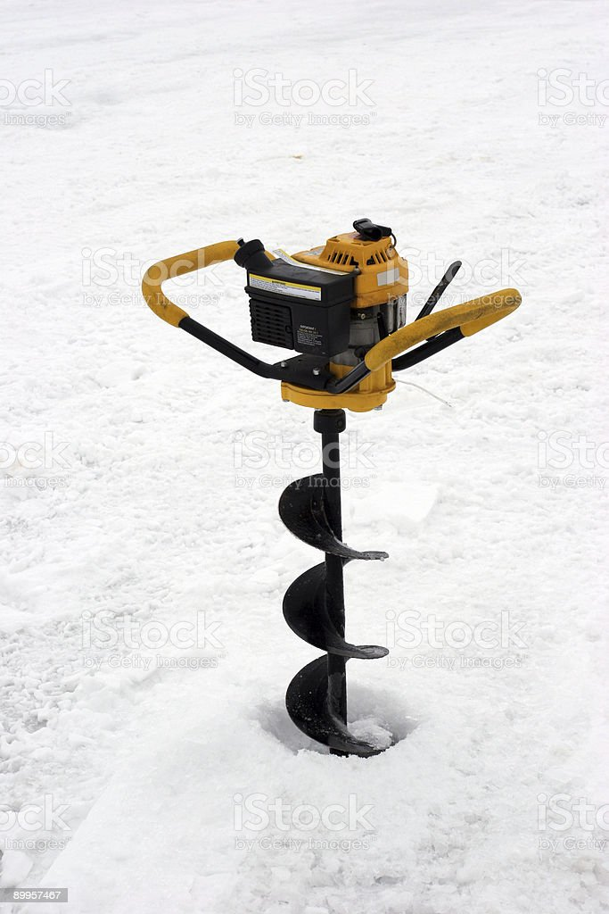 Hole in the ice for fishing royalty-free stock photo
