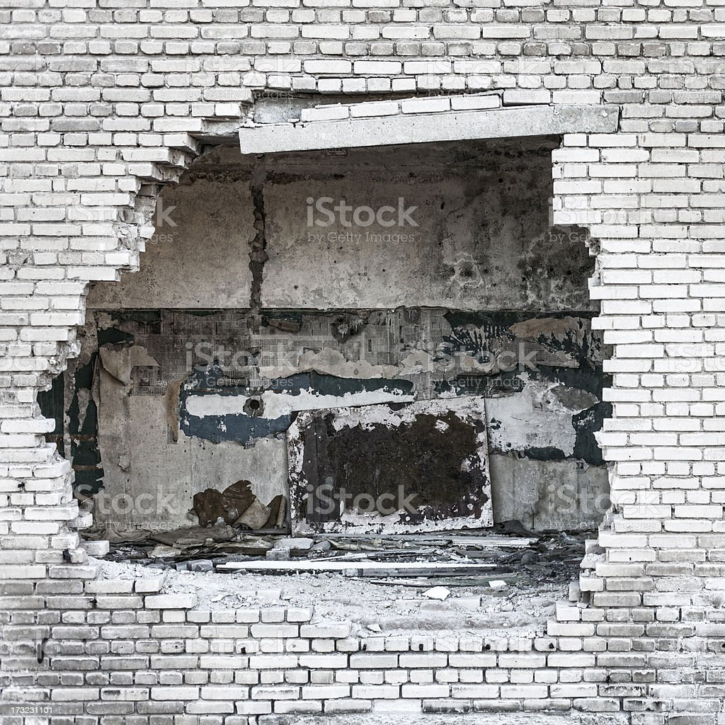 Hole in the wall. stock photo