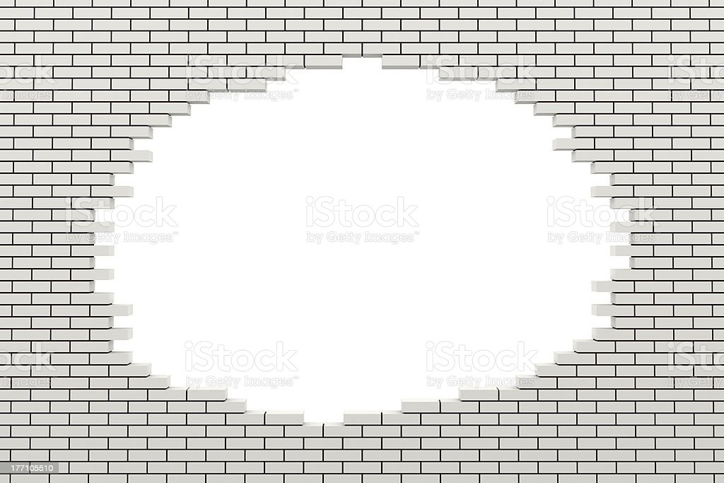 Hole in the brick wall. 3d rendered image