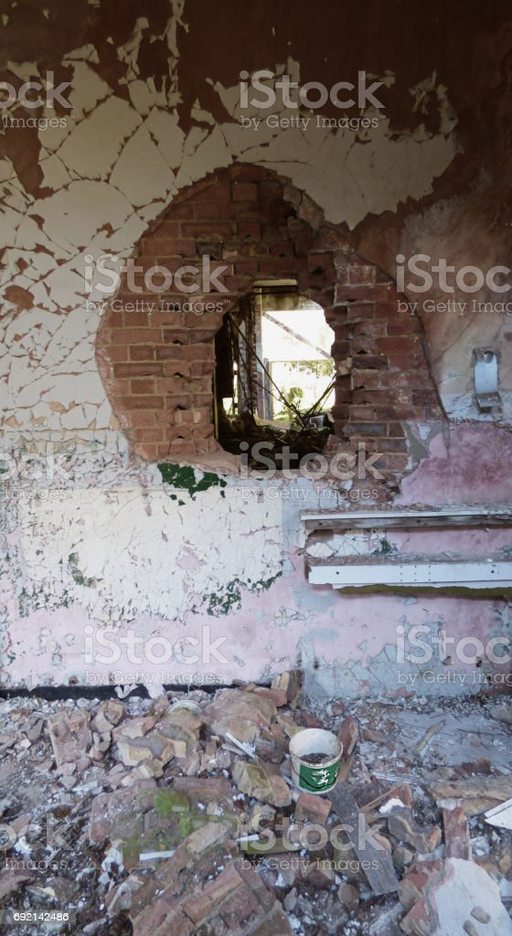 Derelict buildings in a ghost town