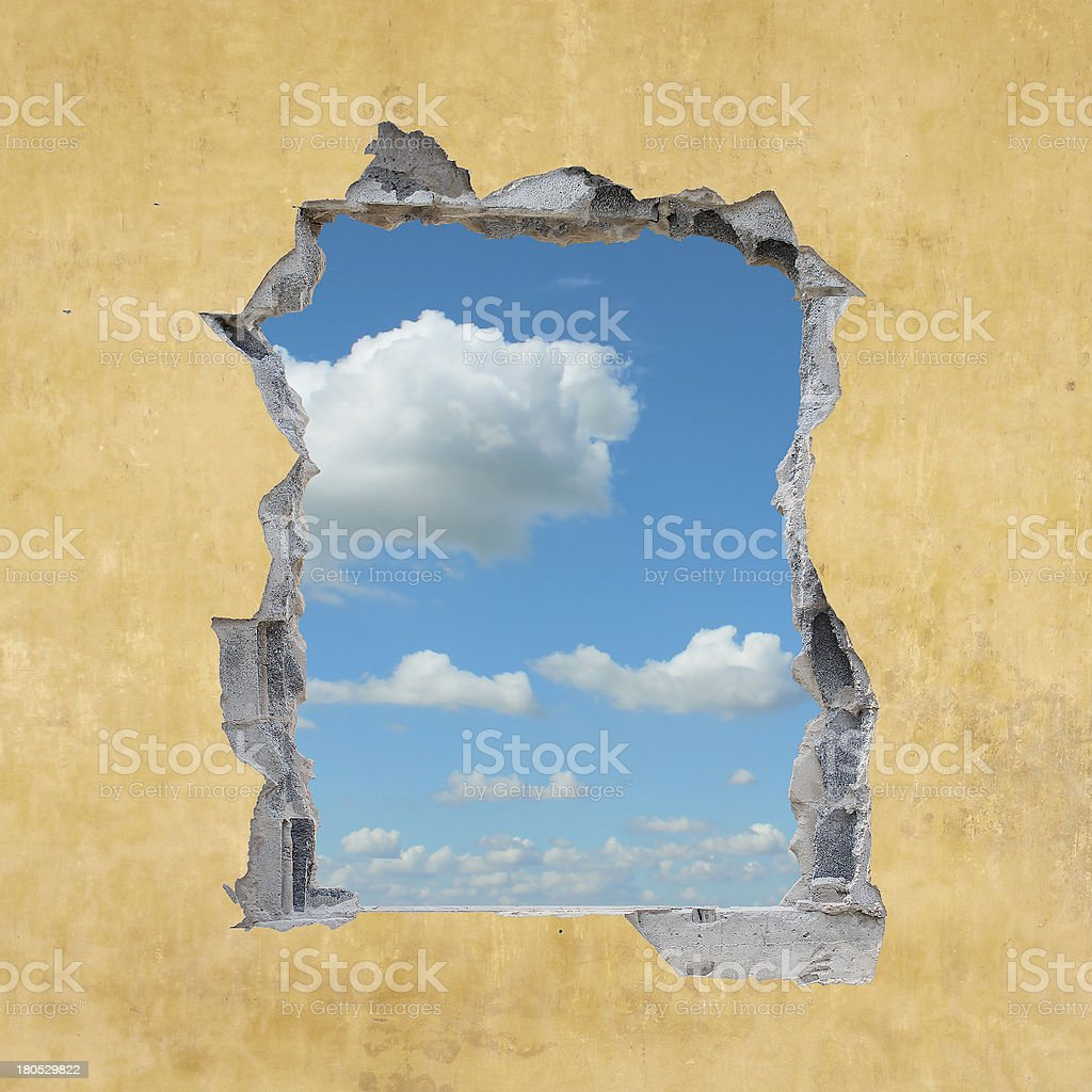 Hole in Wall stock photo