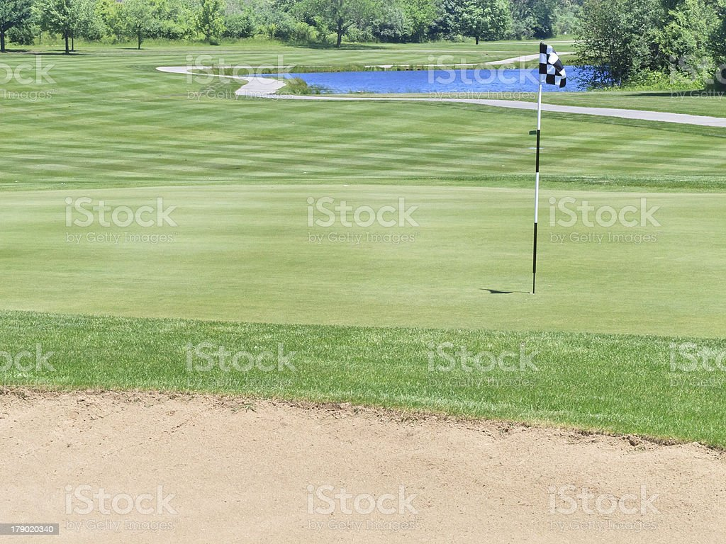 Hole on golf course in northern Illinois royalty-free stock photo