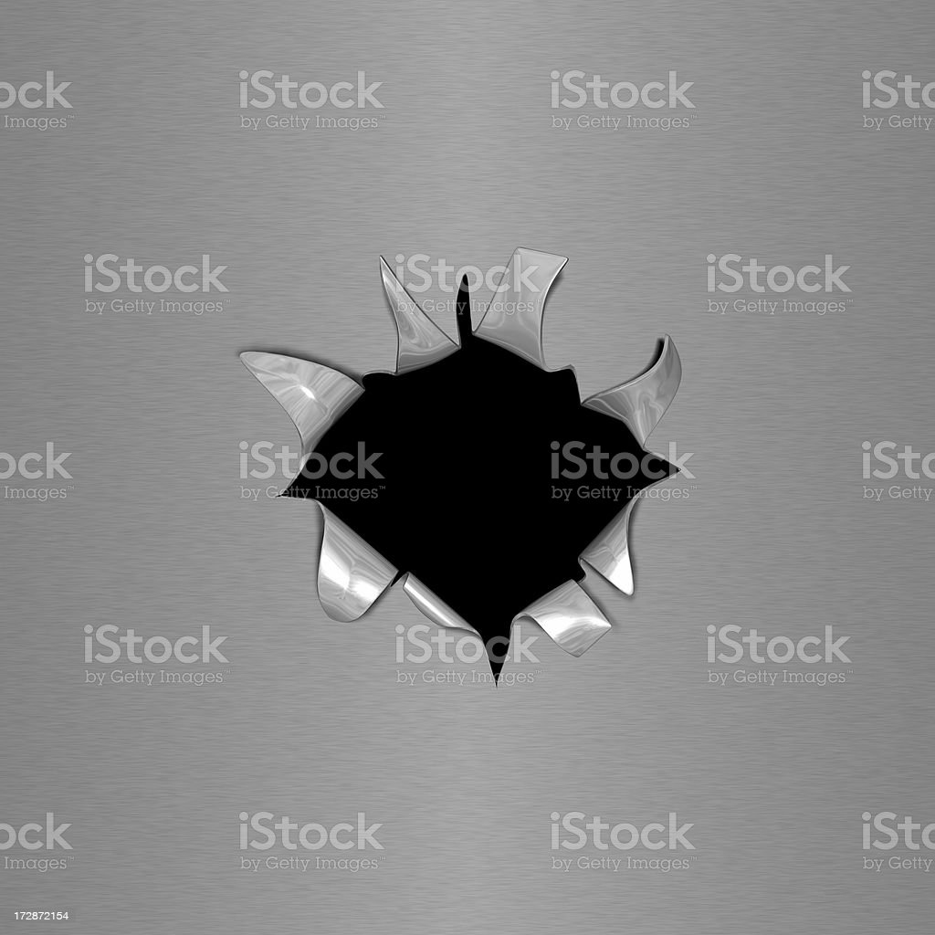 Hole On Metal Surface stock photo