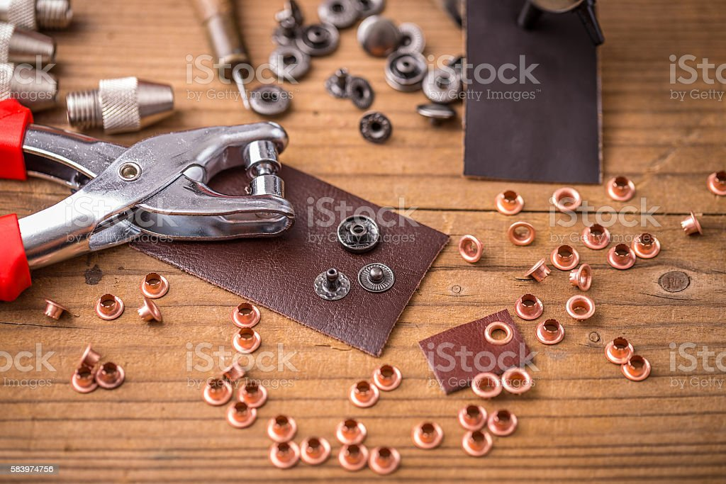Hole punch plier tool stock photo