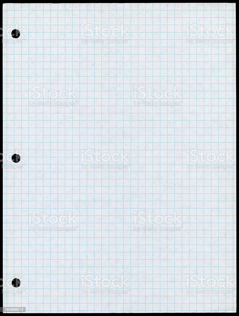 Holepunched white paper with blue graph lines stock photo