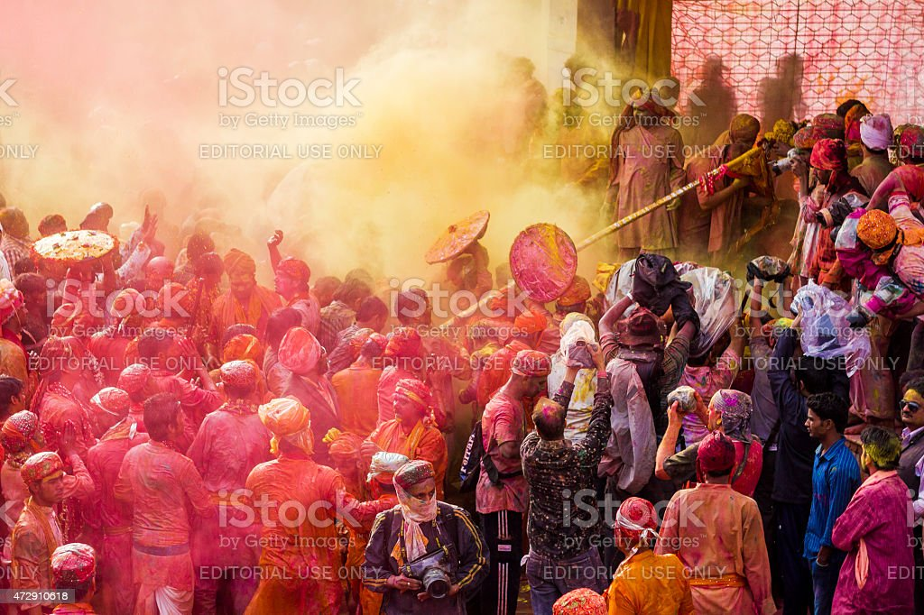 Holi celebration in Nandgaon, India stock photo
