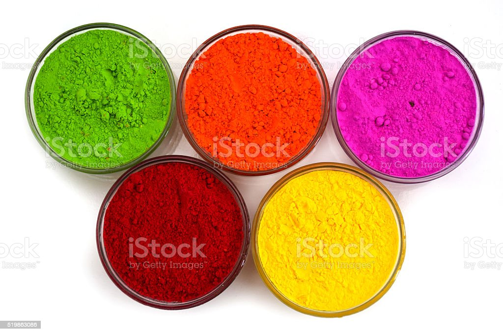 holi color in bowl stock photo