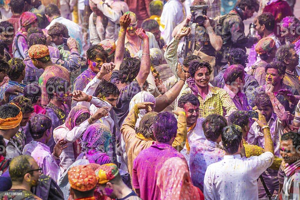 Holi Day Crowd stock photo