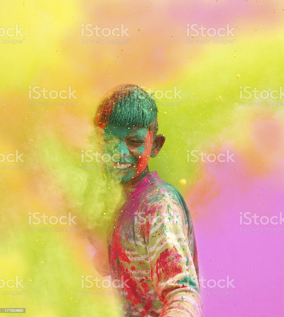 Holi festival celebrations in India. stock photo