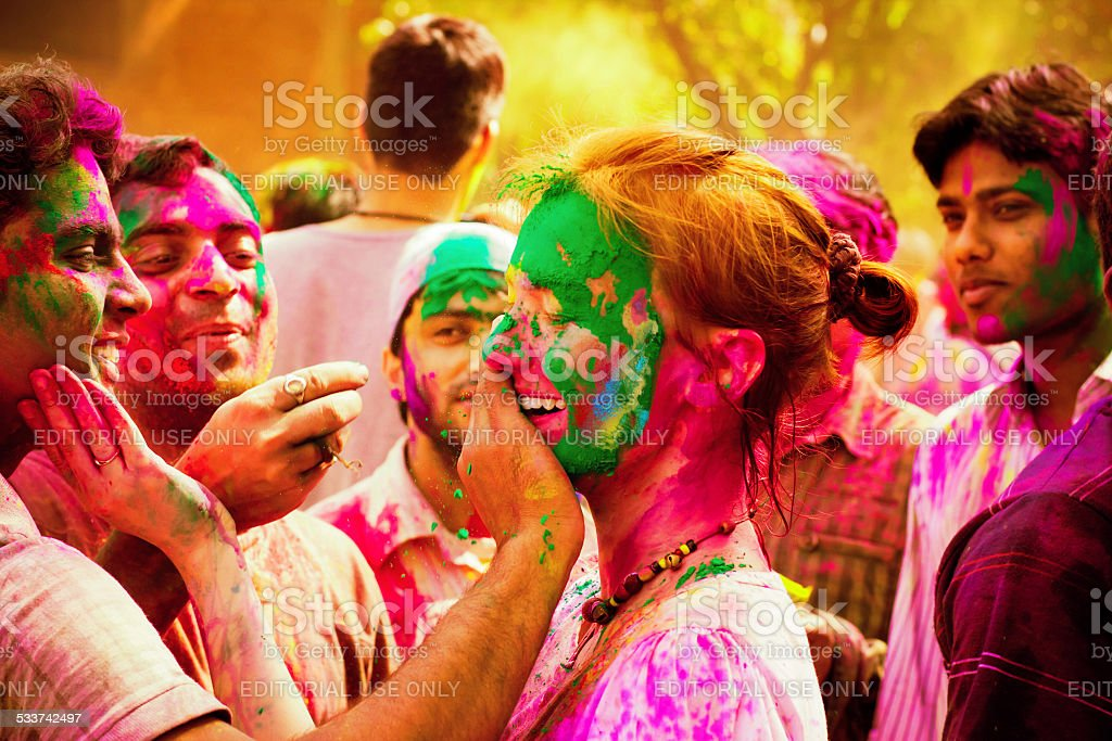 Holi festival celebrations in India stock photo
