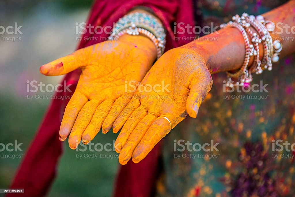 Holi festival hands stock photo