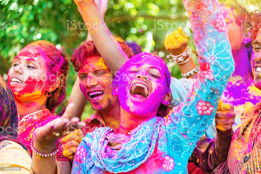Holi Festival in India People Celebrating Festival of Colors stock photo