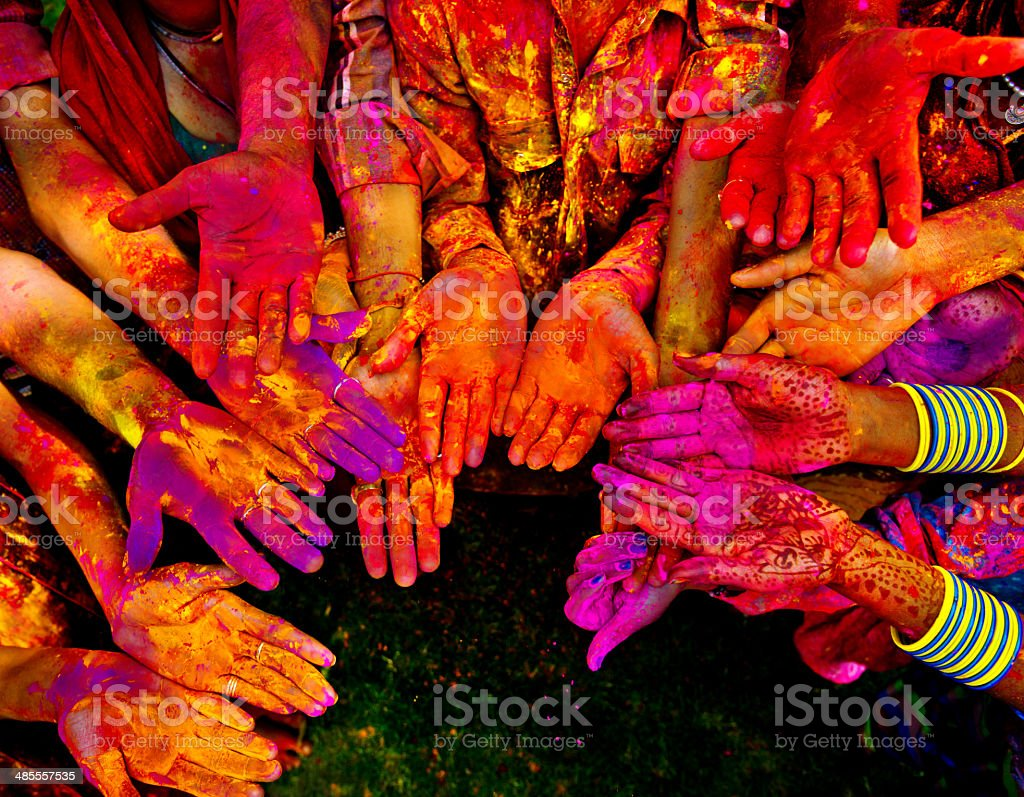 Holi festival in India with colorful hands stock photo