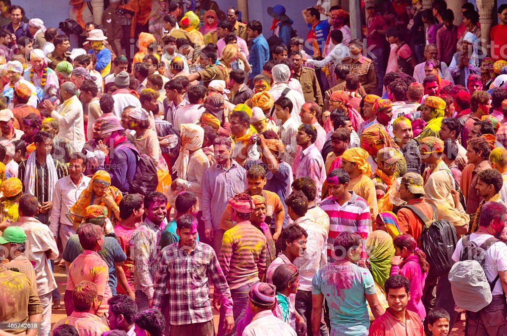 Holi Festival Party crowd, India stock photo