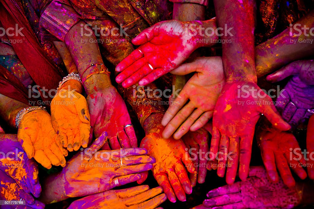 Holi festivalhands in India stock photo