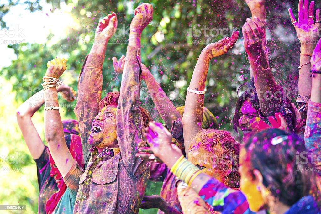 Holi fun celebrations stock photo