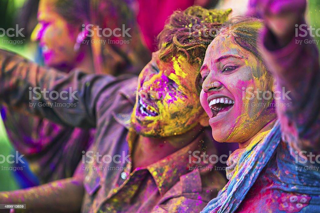 Holi fun royalty-free stock photo