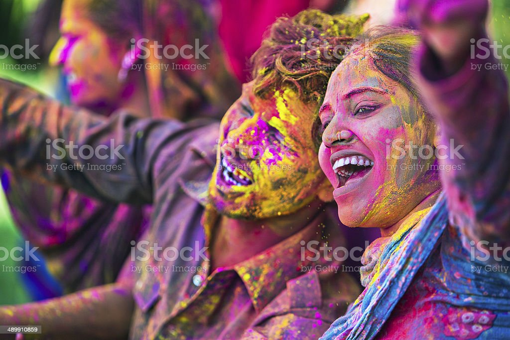 Holi fun stock photo