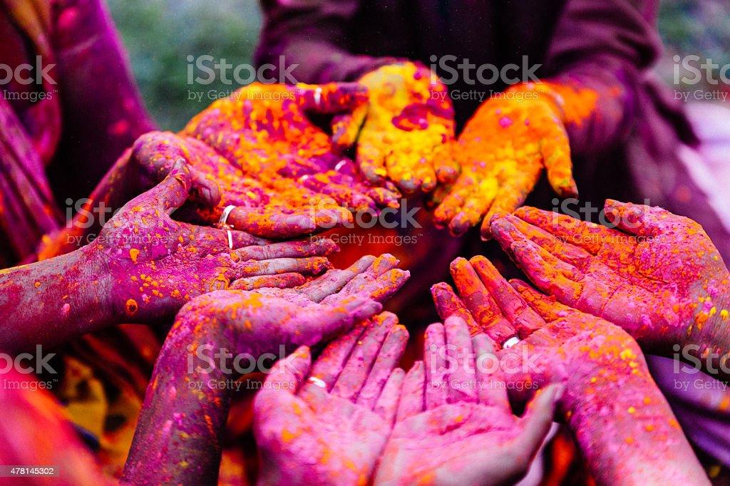 Holi Hands stock photo
