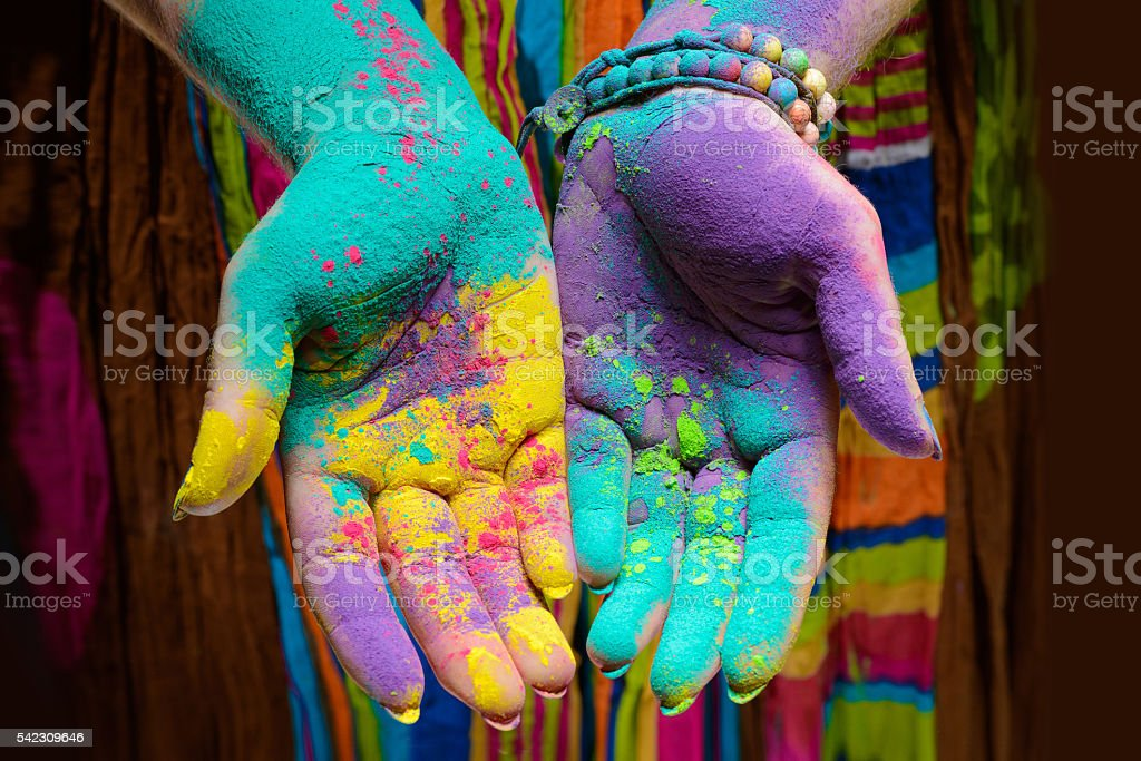Holi painted hands stock photo