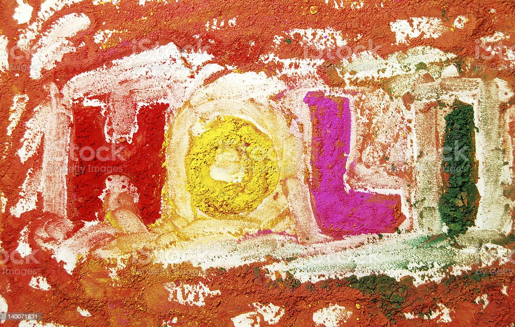 Holi written with colours stock photo