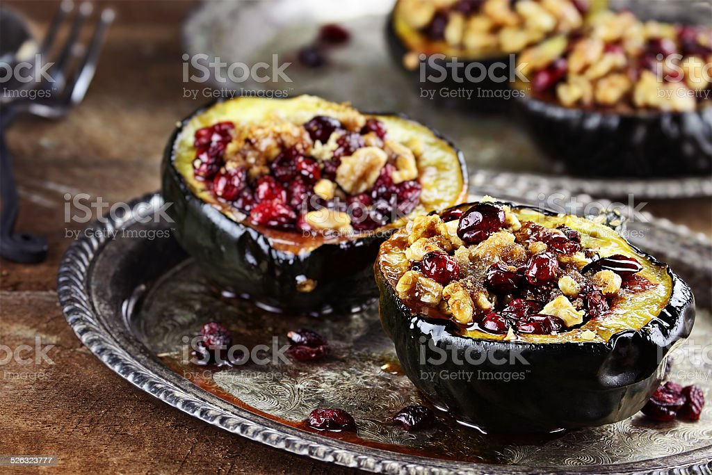 Holiday Acorn Squash stock photo