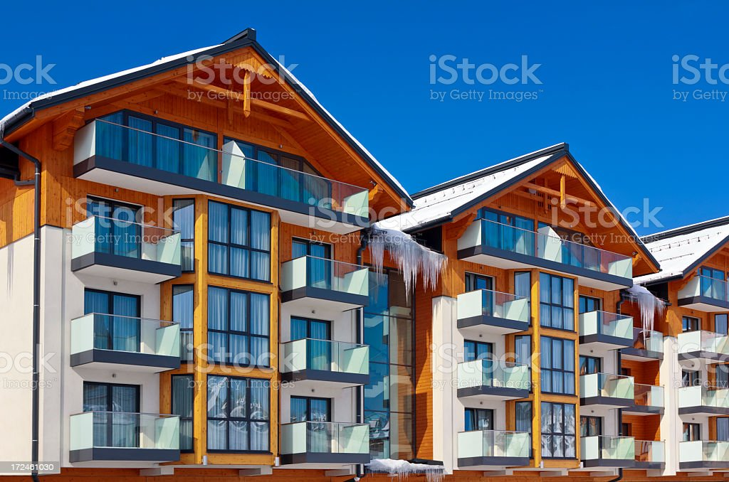 Holiday apartment house in winter royalty-free stock photo