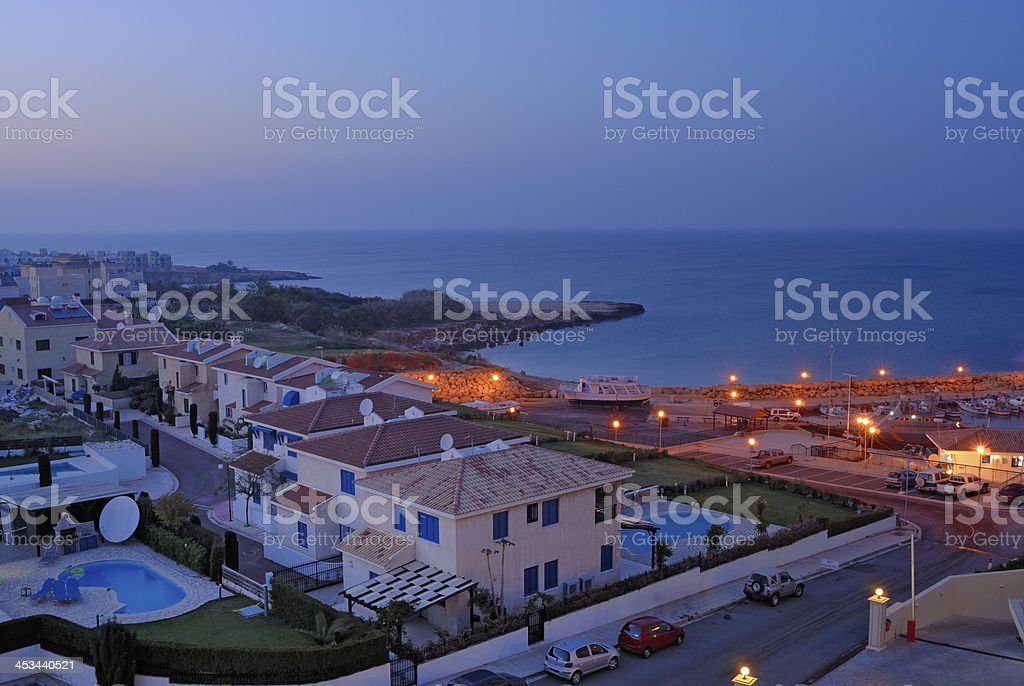 Holiday Apartments in twilight royalty-free stock photo