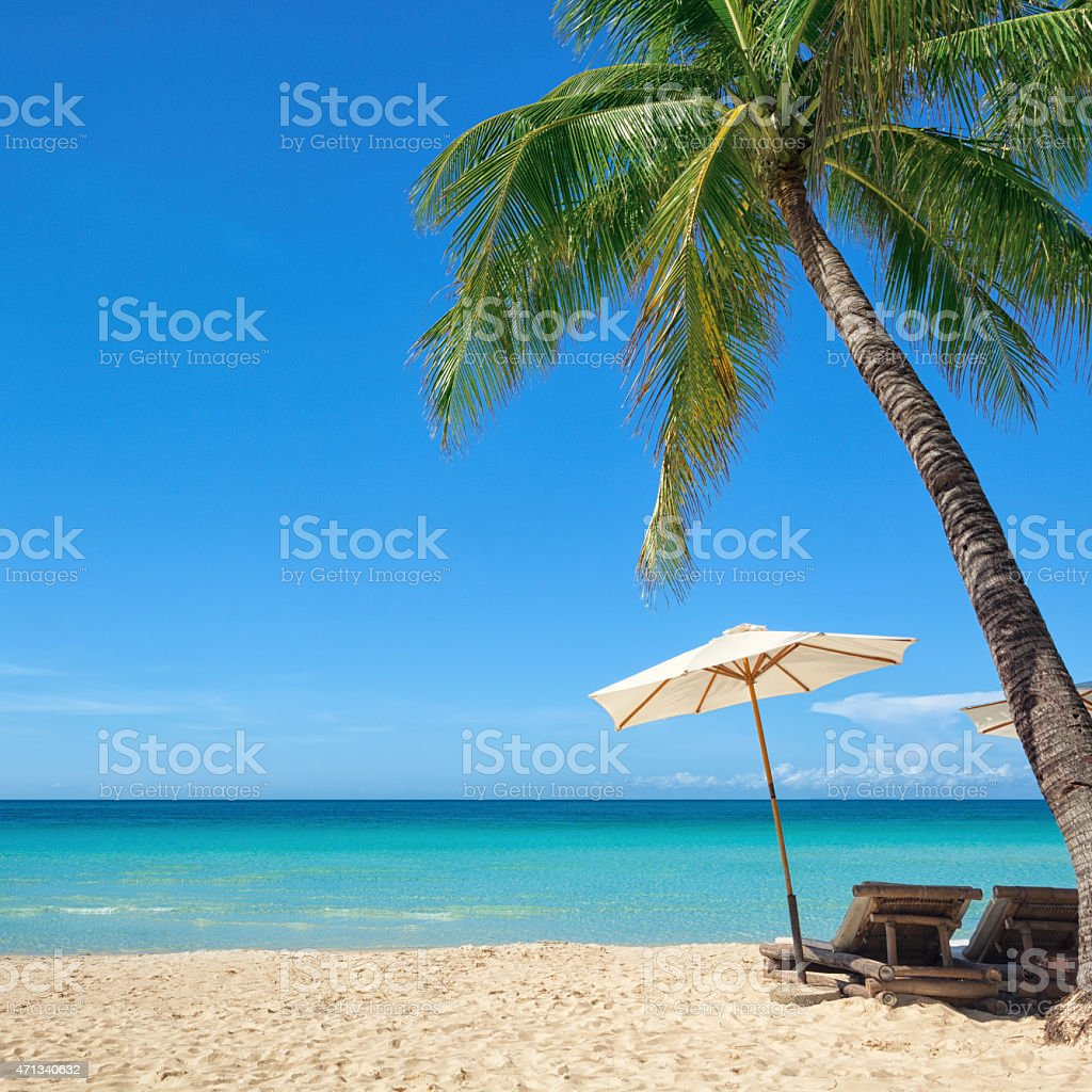 Holiday at a tropical beach by the sea stock photo