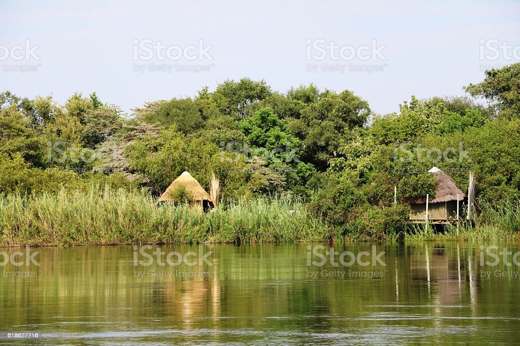 Holiday at the Okavango River, Namibia Africa stock photo