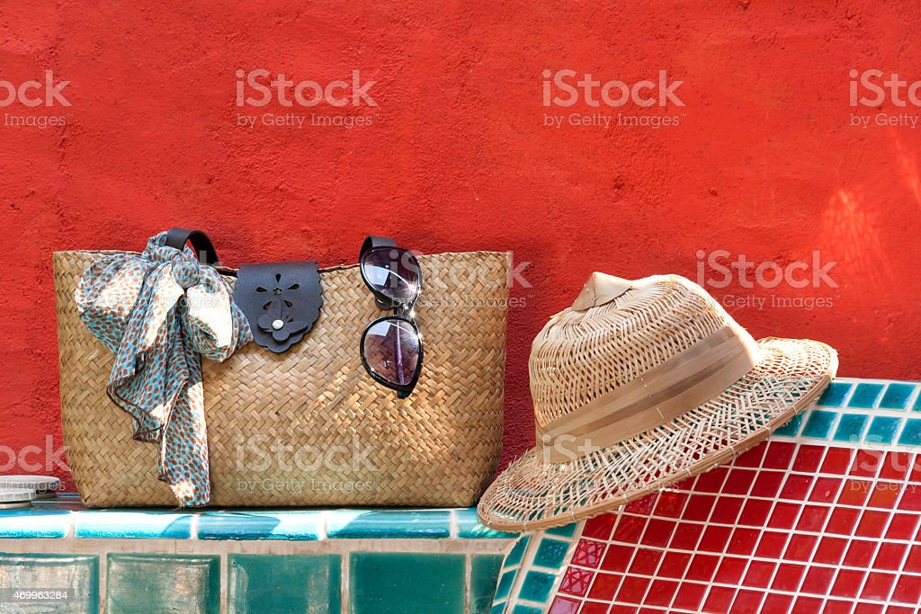 Holiday at the pool side with red concept close up royalty-free stock photo